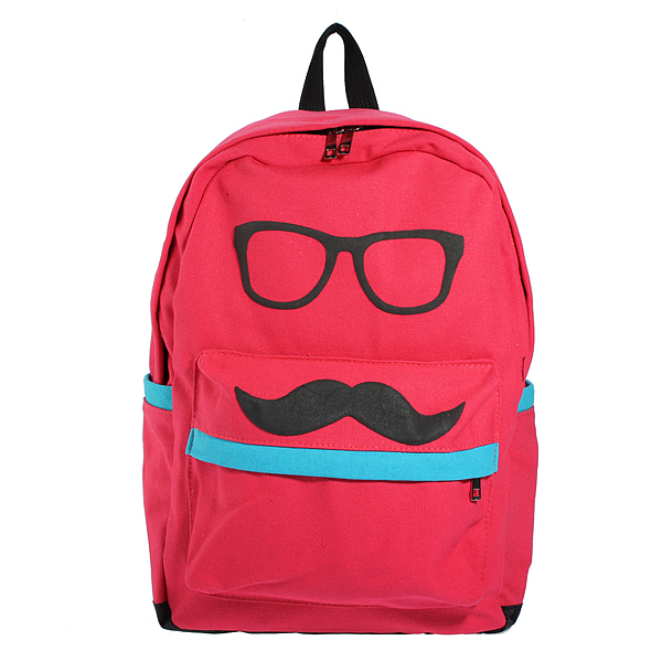 Women Mustache Eyeball Canvas School bag Travel Backpack