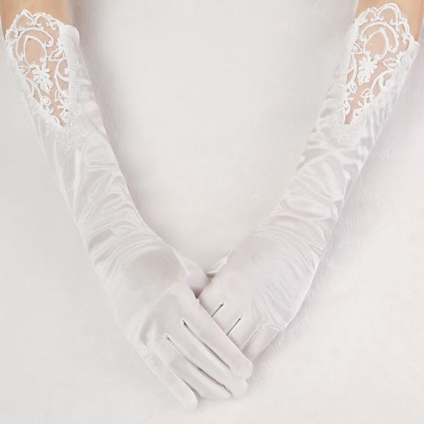 Long section pearl wedding dress bridal five fingers for Wedding dress with long gloves