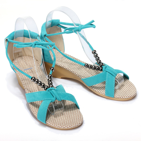 Beaded Lacing Gladiator Wedges Shoes