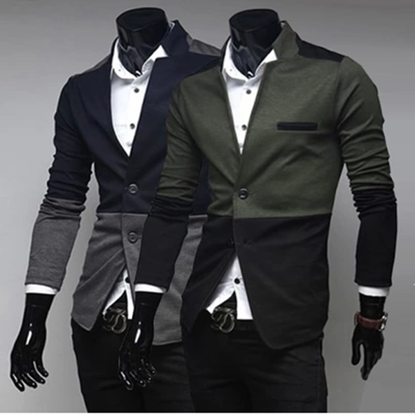 Spring Men Leisure Trim Fit Cotton Stretch Dress Suit Knit Blazers