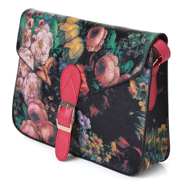 Women Retro Small Oil Flowers Painting Handbag Shoulder Crossbody Bag