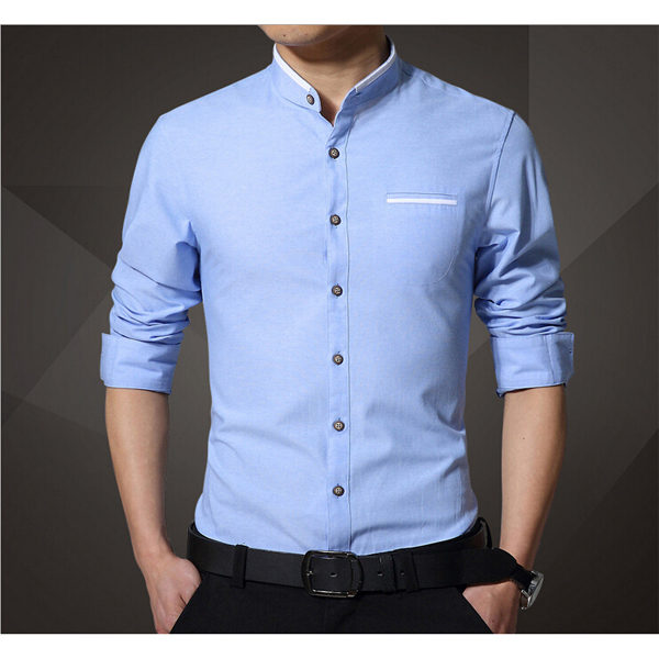 mens stand collar cotton casual long sleeve pocket