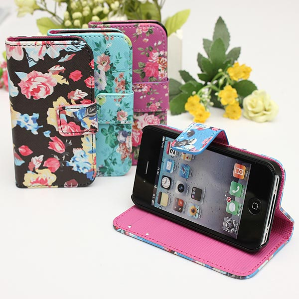 Ultra Thin PU Leather Flip Wallet Card Stand Case For iPhone 4 4S