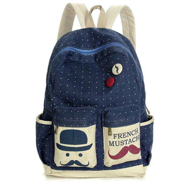 Canvas Dot Beard Printed Backpack