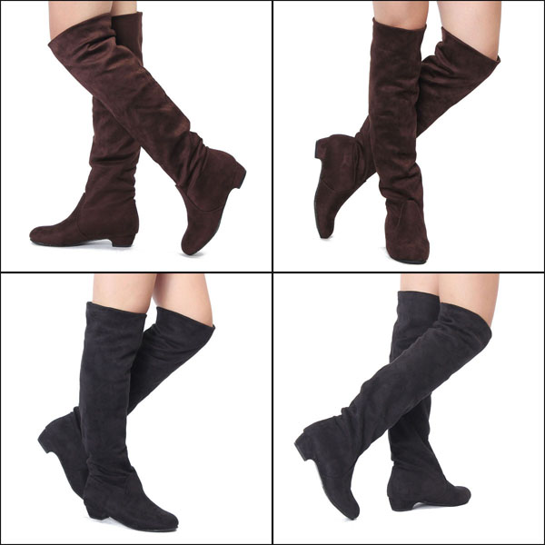 Women Flat Heel Over The Knee Suede Slouch Shoes Stretchy Winter Boots босоножки