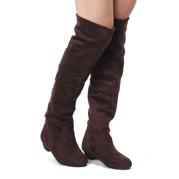 Women Flat Heel Over The Knee Suede Slouch Shoes Stretchy Winter Boot