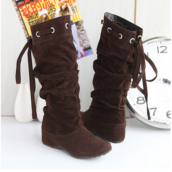 Women Mid-Calf Suede Boots Slouch Comfort Soft Leather Elevator Shoes