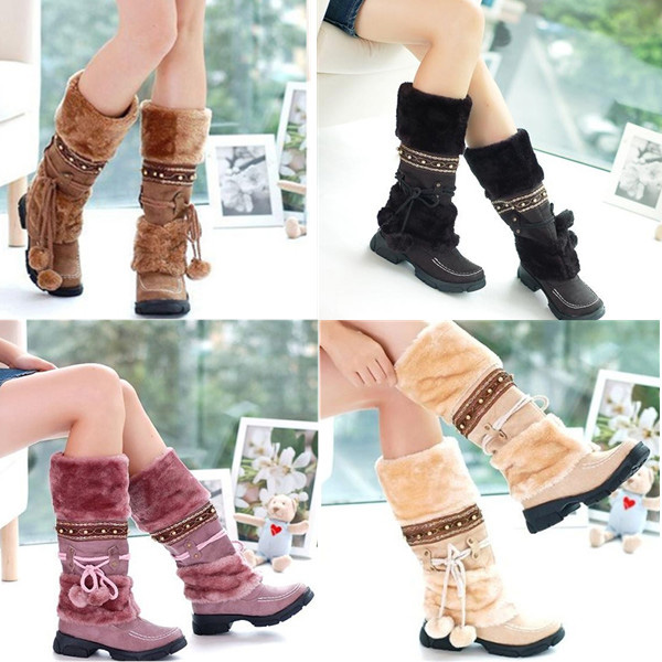 Women Lace Up Warm Mid-calf Snow Boots Ski Snow Shoes