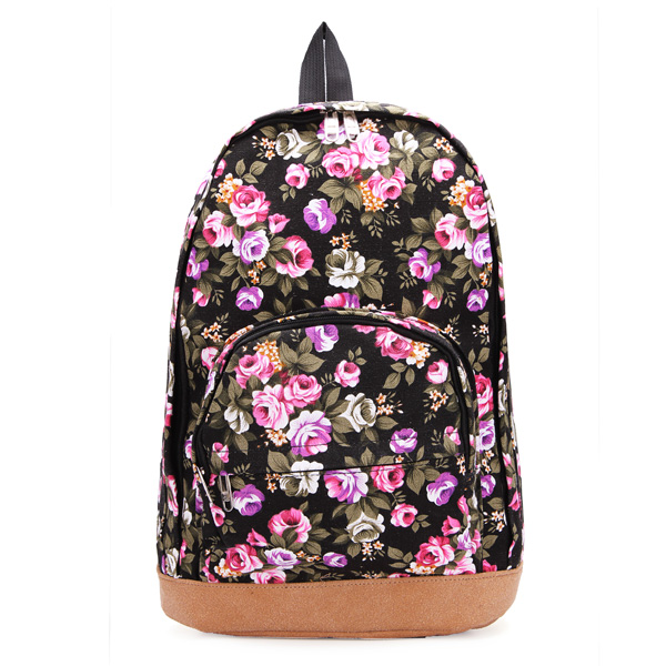 Canvas Rose Flower Backpack