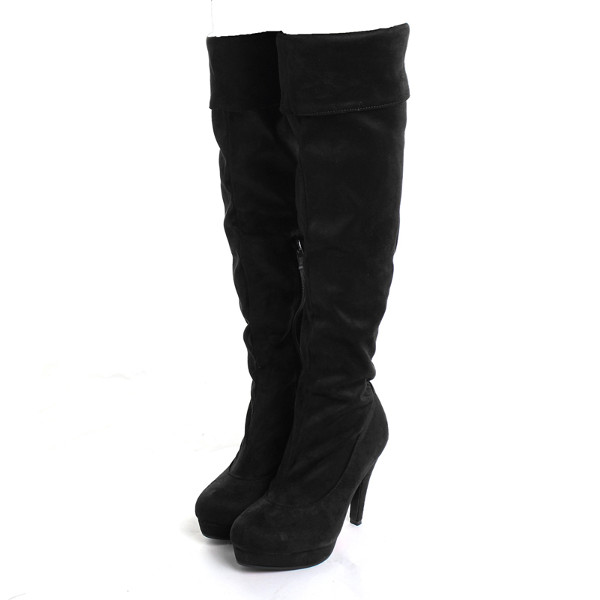 Women's Sexy Slouch Over Knee Stiletto Suede Boots High Heels
