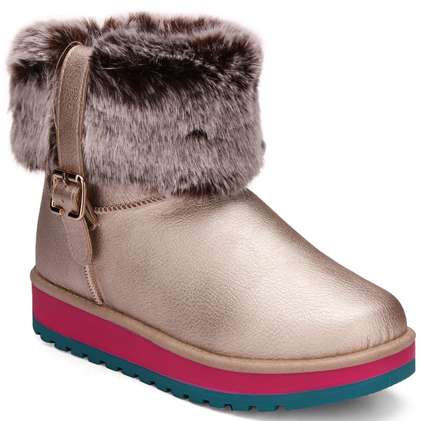 Winter Autumn Warm Plush PU Leather Snow Boots