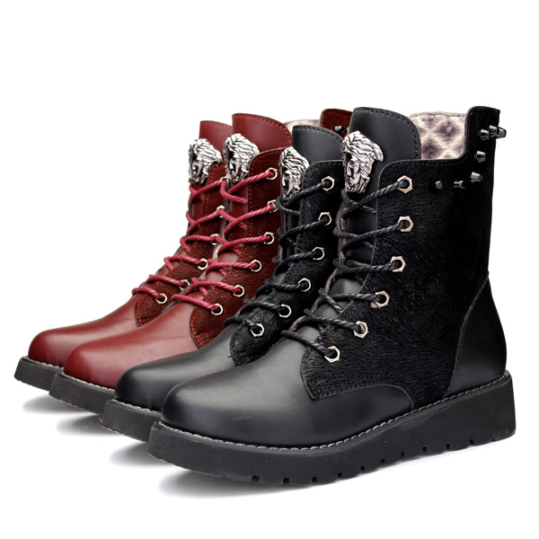 Female Retro Boots Women Martin Flat Boots Motorcycle Bare Boots