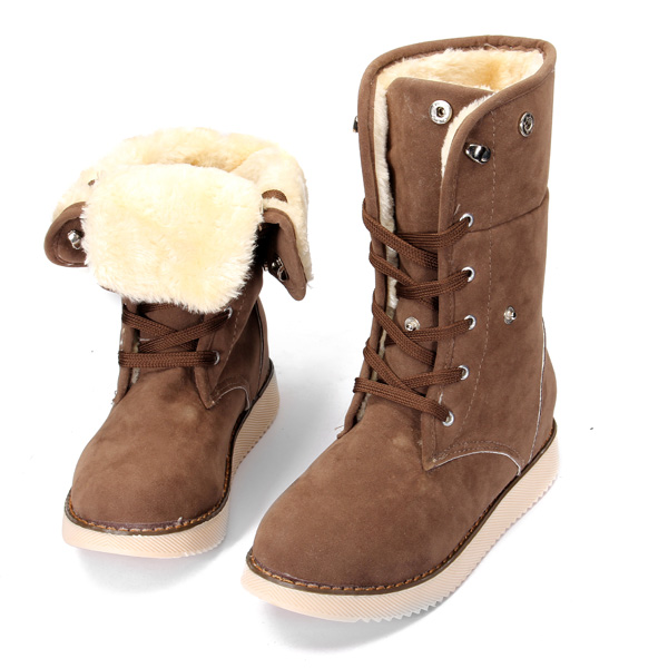 Women Thick Snow Boot Motorcycle Mid-calf Boots Dual-purpose Shoes