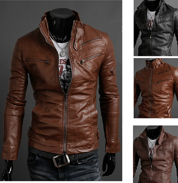 Men Slim Fit Suit  Fashion PU Leather Jacket  Plus Size S-L