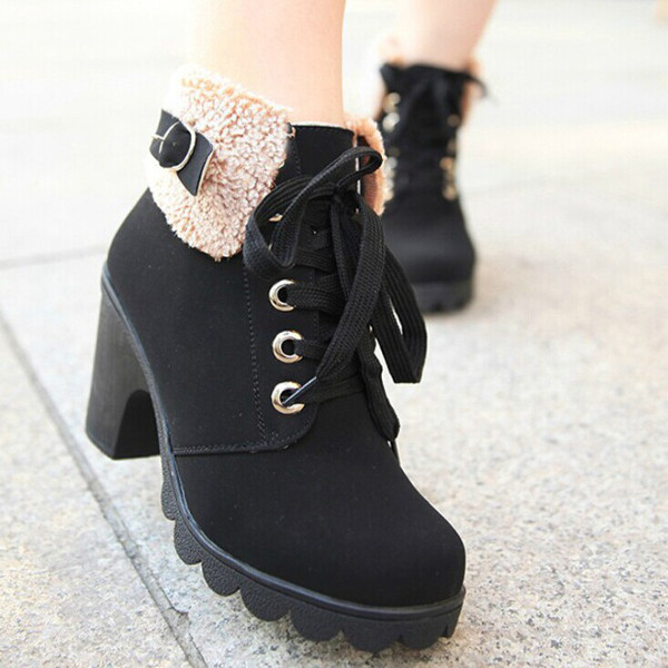 Womens Faux Fur Lace Up Ankle Boots High Chunky Heels Shoes