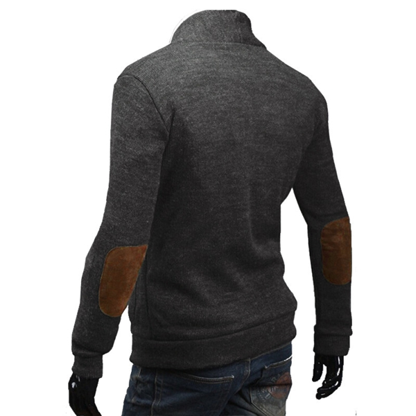 Men's V-neck Cardigan Solid Color Slim Long Sleeve Sweater Coat