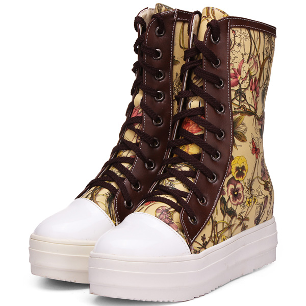 Color Patchwork Floral Print Knight Boots