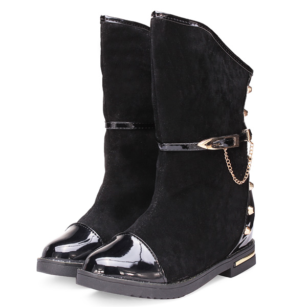 Women Height Increasing Motorcycle Rivet Chain Short Boots