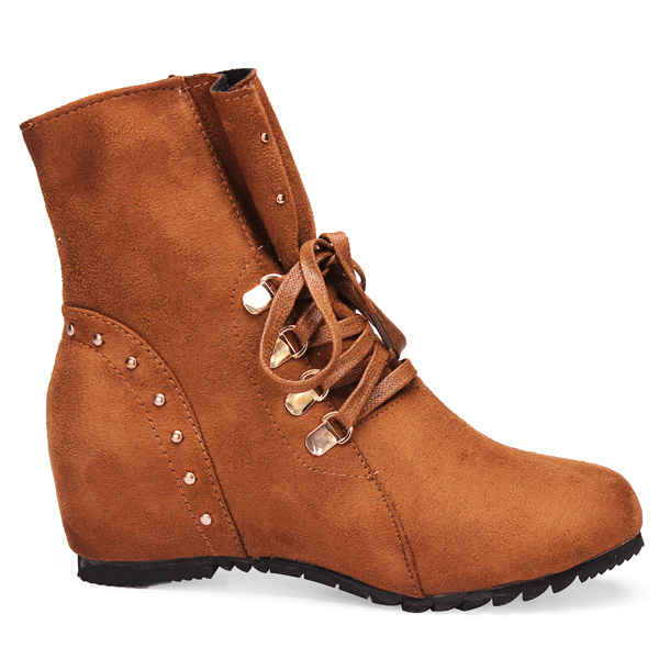 Women Faux Suede Height Increasing Lace Up Cowboy Ankle Boots