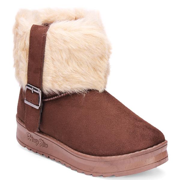 Women Artificial Fur Buckle Flat Cotton Snow Boots