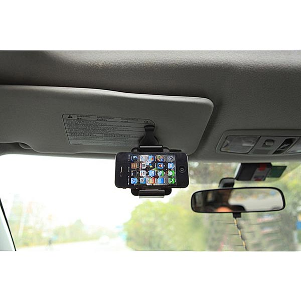 Portable Car Sun Visor Holder Mount Stand For iPhone SmartphoneiPhone 6 Gadgets<br>Car Sun Visor Holder Mount Stand For iPhone 6 5 Samsung Galaxy Note 3 S5 S4 GPS Description: Suitable for different phone sizes. It allows you to talk &amp; drive safely in you car. Adjustable support legs keep buttons and ports free. The mount holder fits cell phone within 52-87mm width. A single button releases the device for quick detachment. Can be easily clipped to your cars sun visor for convenient use of your devices. Compact and lightweight design makes it ideal for travel and on-the-go lifestyle. Clip it to the sun visor in front of the windscreen and use the 360rotation function to set your devices vertically or horizontally. Shockproof and you dont need to worry the holder will scratch your mobile phone because there are soft rubber cushion on the two inner sides and the back of the holder protecting your devices. Ideal for nearly all smart phones,compatible with MP3, MP4, GPS, iPhone 6 5 4 4S 3, Samsung Galaxy S3 i9300 Mini i8190/ S4 i9500/ N7100/S7562, Google nexus 4, HTC, Nokia, Blackberry, LG and so on. Specifications: 1. Color: black 2. Minimum width: Approx: 52mm 3. Maximum width: Approx: 87 mm Package include 1 x Car Sun Visor Holder Mount Stand More detail:<br>