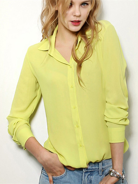 Women Lapel V Neck Button Long Sleeve Chiffon Blouse Shirt
