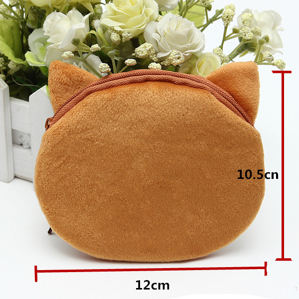 3D Bear Face Zipper Coin Purse Women Wallet Clutch