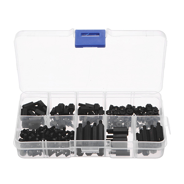 180pcs M3 Nylon Black M-F Hex Spacers Screw Nut Assortment Kit 2017 axk 100pcs lot male to female thread m3 6 6 m3 x 6 black nylon standoff spacer