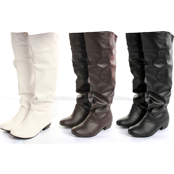 Women PU Leather Pure color Leisure Low Heel Knee High Boots