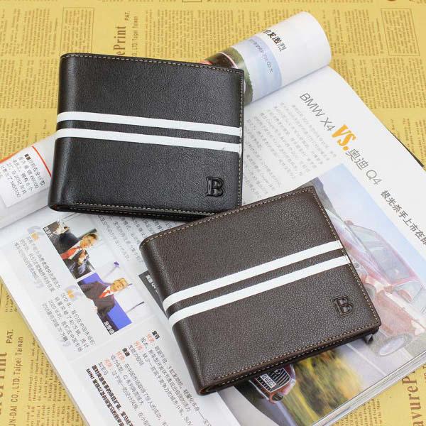 Short Male Wallet Men Stripe Leather Brief Purses