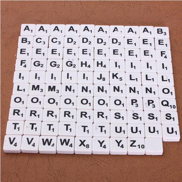 100pcs Scrabble Tiles English Letters Black / White Font For Kids Sale ...