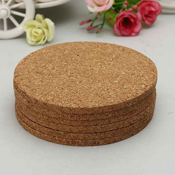 6pcs 100mmx5mm Round Plain Cork Coasters Cork Mats Drink Wine Mats