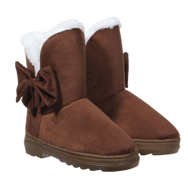 Warm Slip On Flat Heels Bowknot Snow Boots Mid-calf Shoes