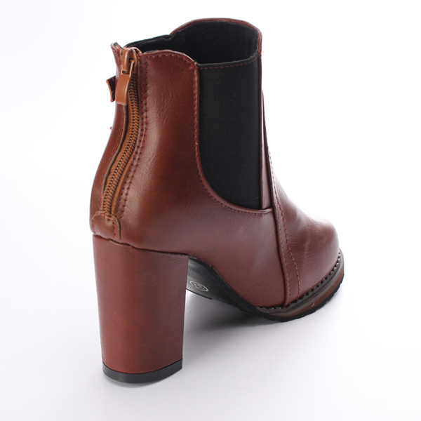 High Heel Double Buckle Elastic ZipperAnkle Boot Women