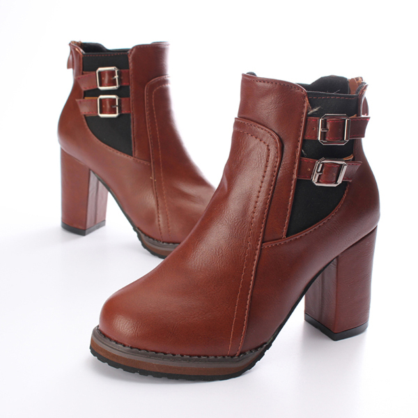 High Heel Double Buckle Elastic Zipper Martin Ankle Boot Women