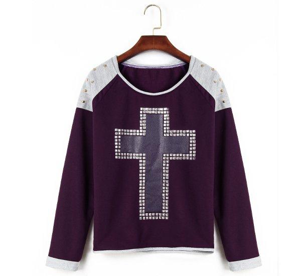 Women Hoody Long Sleeve Sportswear Rivet Cross Printed Sweatshirt