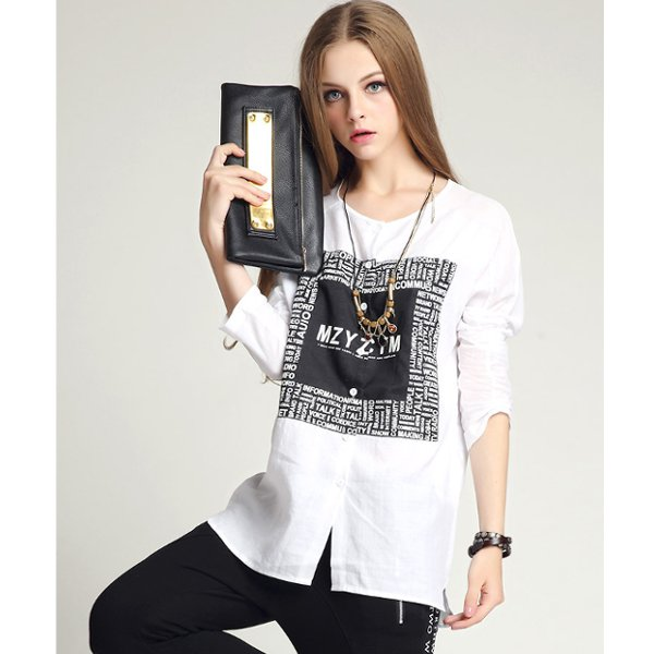 Women Loose Blouse White Black Casual Long Sleeve Tops T Shirt