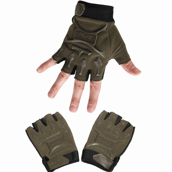 Tactical Outdoor Half Finger Gloves Antiskid Sport Cycling Motorcyle tactical half finger gloves with protective rubber pad pair size l