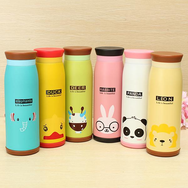 Cartoon Animal Vacuum Flask Thermos Tea Water Cup Bottle 500ML