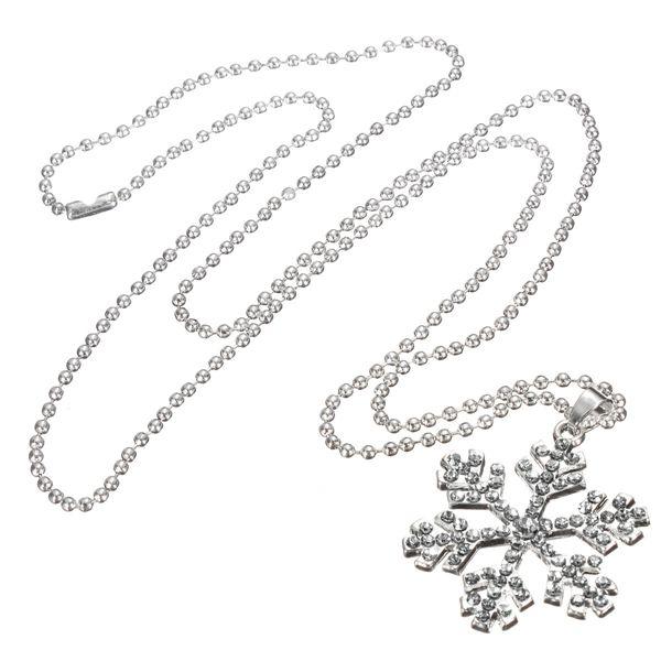 Rhinestone Snowflake Silver Chain Necklace