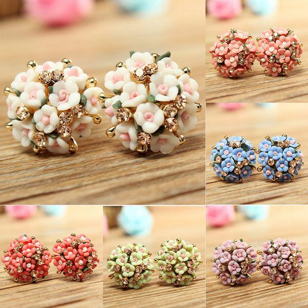 Ceramic Flower Stud Earrings