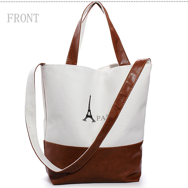 Women Retro Classic PARIS Eiffel Tower Print Canvas Handbag Shoulder Bag