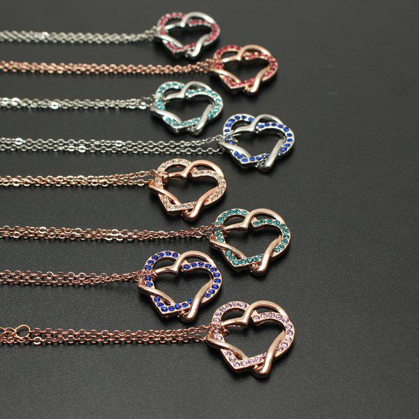 Crystal Twine Double Hearts Necklace