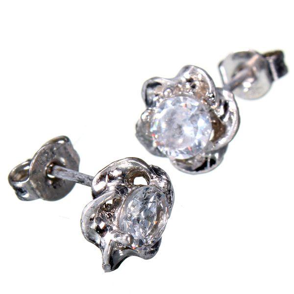 Silver Plated Crystal Flower Earrings