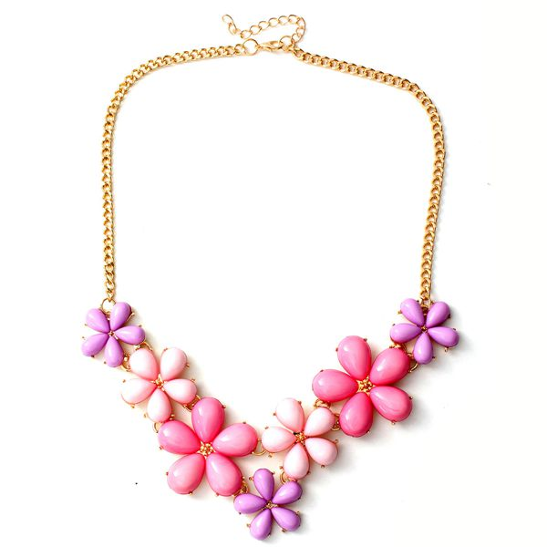 Flowers Statement Pendant Necklace