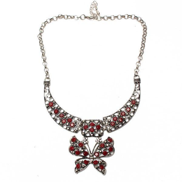Tibetan Silver Rhinestone Butterfly Necklace