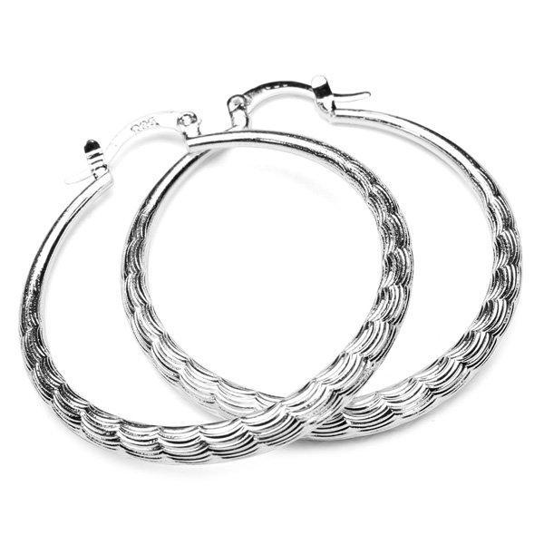 Circle Raised Grain Hoop Earrings