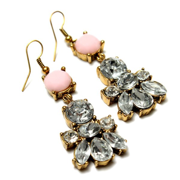 Crystal Irregular Geometric Flower Earrings