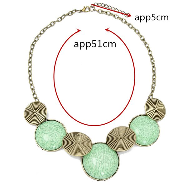 Round Gem Cabochon Collar Necklace