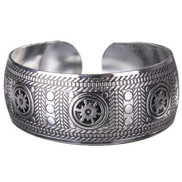 Vintage Carved Metal Tibetan Silver Cuff Bracelet Bangle For Women vintage suitcase 20 26 pu leather travel suitcase scratch resistant rolling luggage bags suitcase with tsa lock
